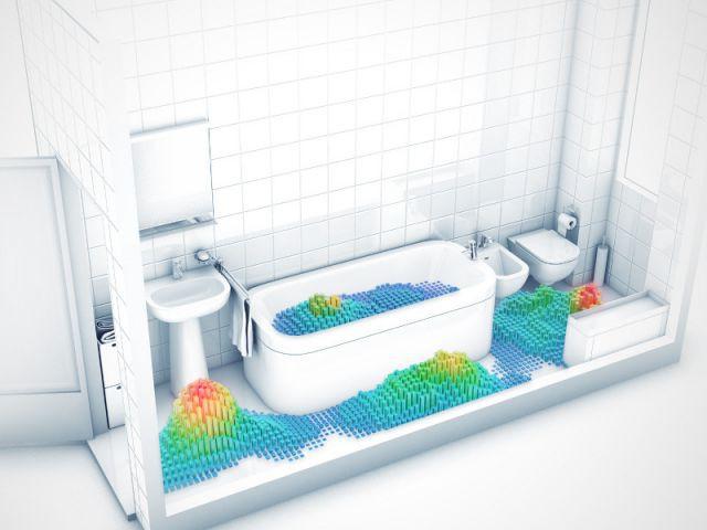 La salle de bains de deux colocataires italiens - Etude SdB