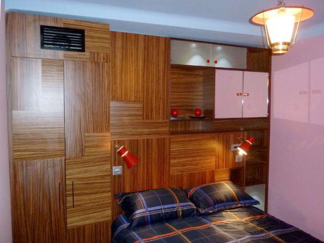 Chambre - Un meuble tête de lit sur mesure - Appart fifties coloré