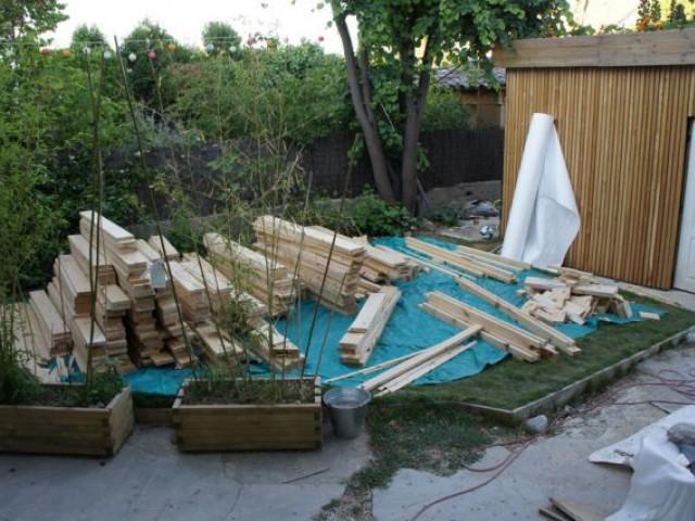 Piscine bois O2pool - arrivée du bois