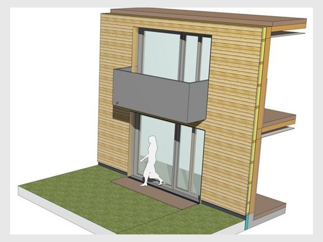 Axonométrie balcon - logements passifs Gonesse