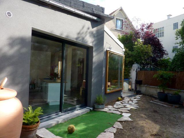 Porte vitrée donnant sur le jardin - Extension Bois Colombes