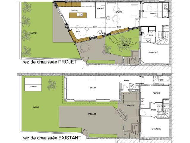 Plan avant et après - Extension Bois Colombes