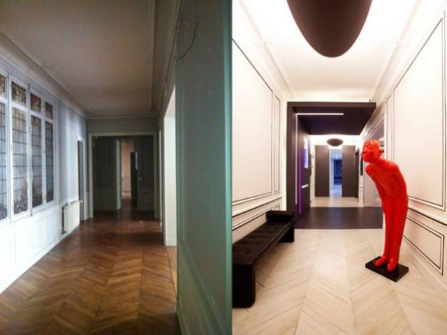 L'entrée - avant/après - Denise Omer - 16ème arrondissement rénovation