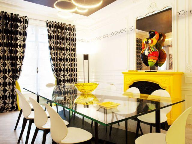 La salle à manger - un jaune or qui réveille l'oeil - Denise Omer - 16ème arrondissement rénovation