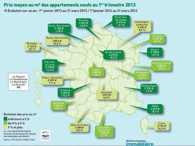 Prix moyen au m² des appartements neufs au 1er trimestre 2013 - Carte notaires de france