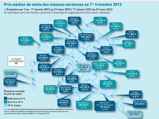 Prix médian de vente des maisons anciennes au 1er trimestre 2013 - Carte notaires de france