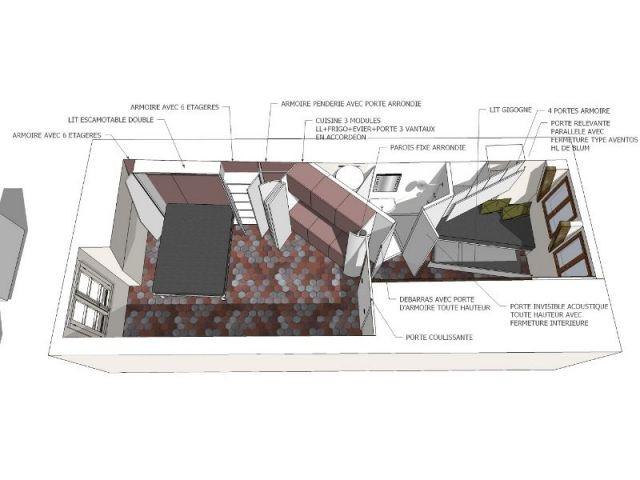 Plan de l'appartement avec meuble déplié - appartement parisien - Francesca de Marchi