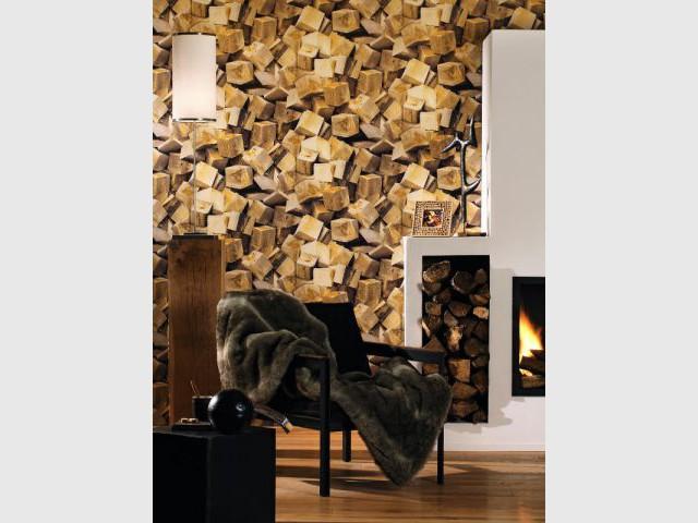 Un salon aux murs en trompe l'oeil - Ambiances chaleur hiver