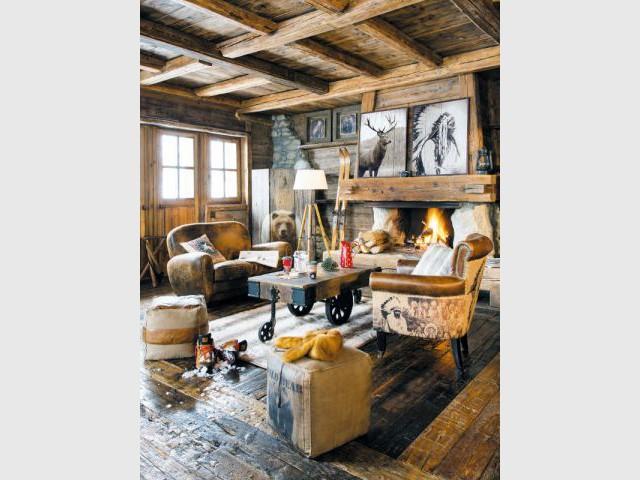 Une pièce à vivre dans un chalet montagnard - Ambiances chaleur hiver