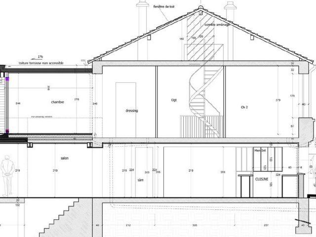 Extension bois e et a r e pour une maison mitoyenne - Plan de coupe maison ...