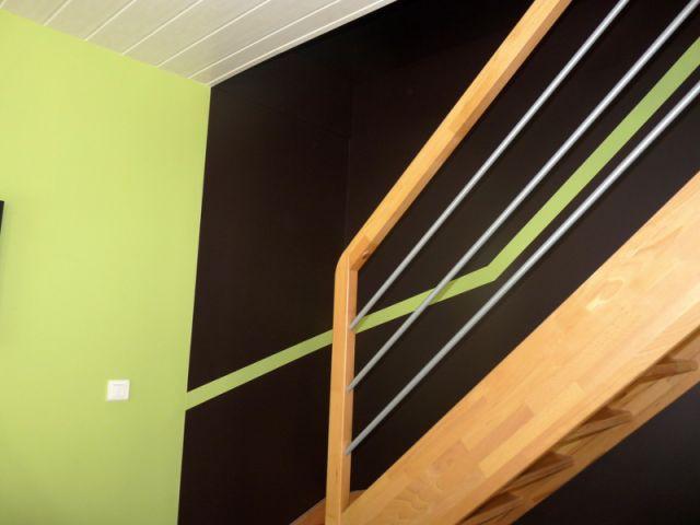Peinture de l'escalier - Rénovation déco salon