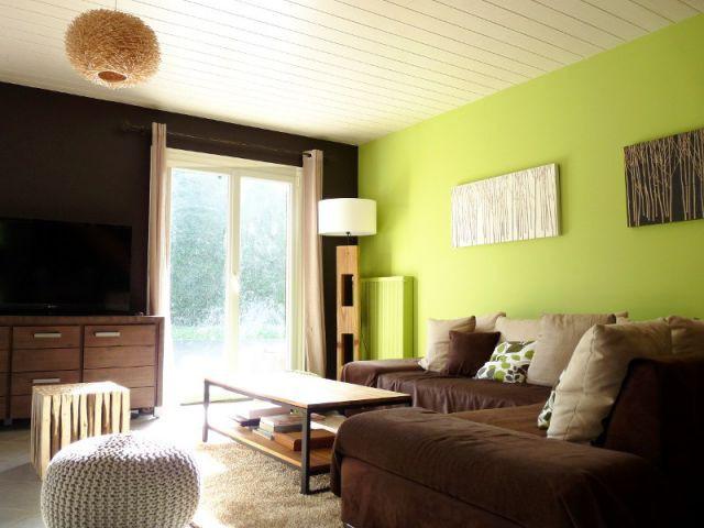 Un mur marron pour plus de discrétion - Rénovation déco salon