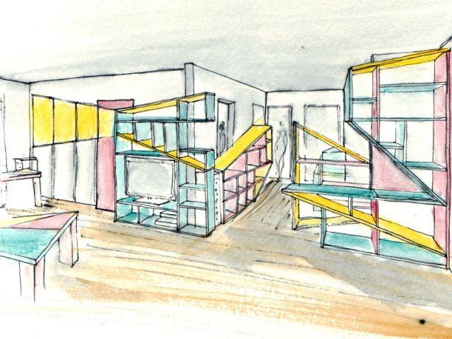 Un intérieur graphique et coloré pour faciliter les déplacements