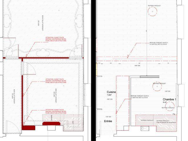 Déplacer une cloison pour gagner sur la future chambre - Rénovation d'un T3 en T4