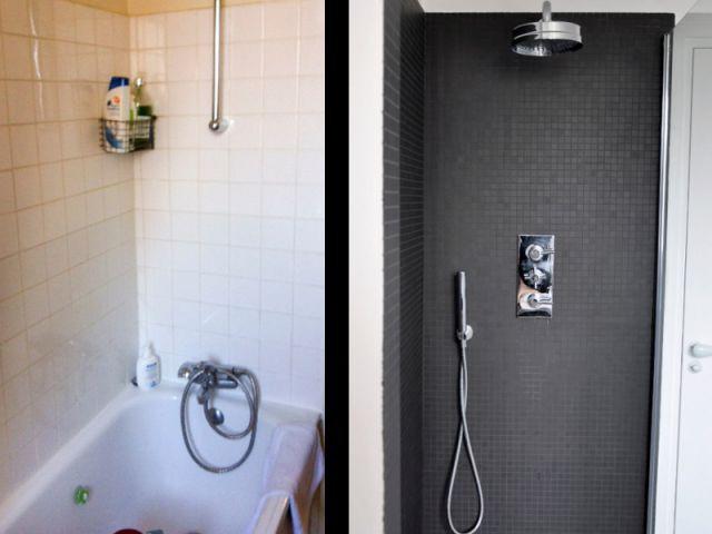 Une douche large et moderne - Une salle de bain graphique et rétro