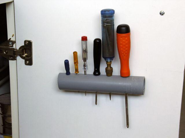 Créer un rangement malin avec un tuyau - le résultat - Créer un rangement malin avec un tuyau