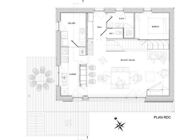 Plan du rez-de-chaussée - Maison passive Gosne