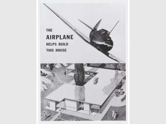 """Simon Breines, Ralph Pomerance """"L'avion aide à construire cette maison"""", Brochure de l'entreprise Cooper & Brass (1943) reproduite dans Donald Albrecht, dir. World War II and the American Dream, 1995"""