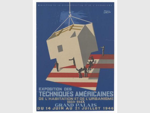 """Paul Colin, Affiche de l'""""Exposition des Techniques Américaines de l'habitation et de l'urbanisme"""""""