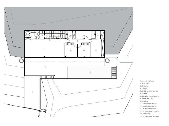 Fiche technique du chantier - Une villa semi-enterrée étroite et moderne