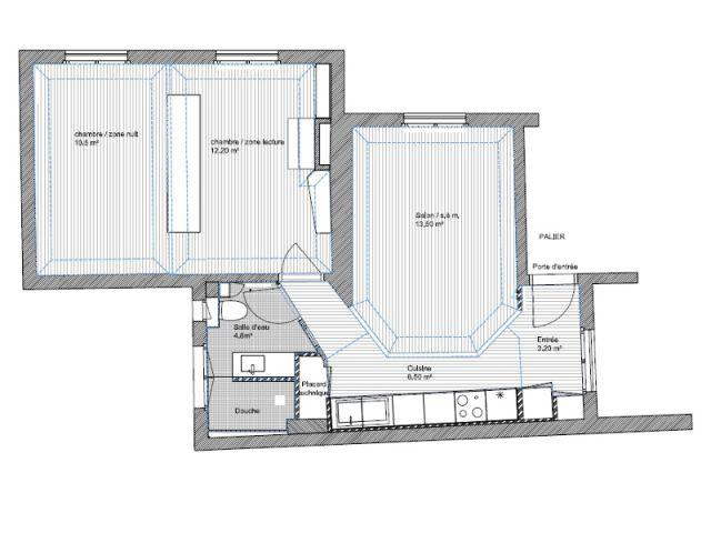 Plan de coupe - Un meuble central décloisonne un appartement vétus
