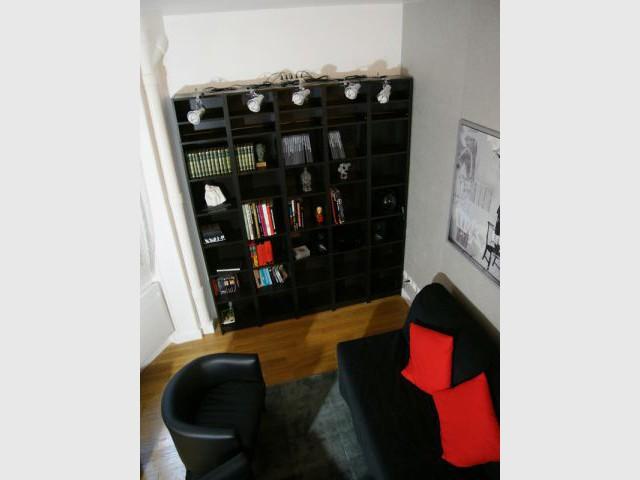 Une bibliothèque adaptée à la hauteur de la pièce - Loge de gardiens en studio moderne