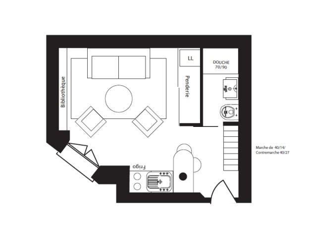 Le plan de coupe et la fiche technique de la rénovation - Loge de gardiens rénovée