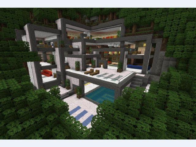 Modern Hillside house - Minecraft, le jeu vidéo de construction