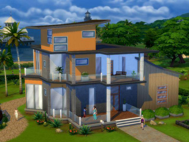 Les Sims 4 : une maison aux nombreuses vitres - Maison conçue dans le jeu Les Sims 4