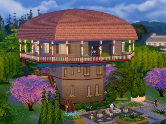 Les Sims 4 : une maison champignon au toit arrondi - Maison conçue dans le jeu Les Sims 4