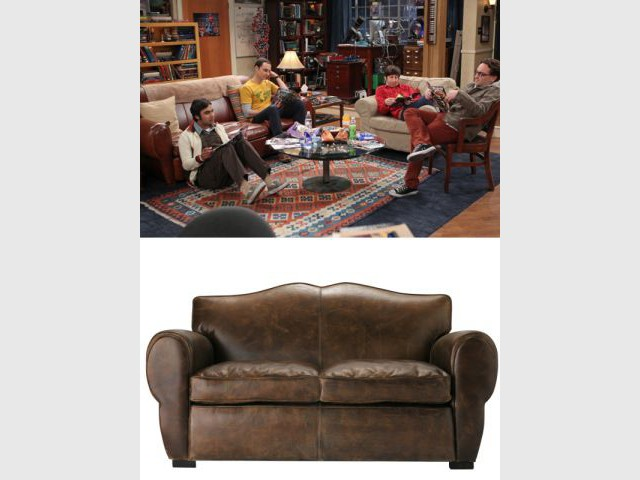 Un canapé vintage en cuir - Déco The Big Bang Theory