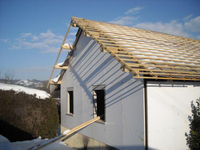 Elévation de la charpente - Reconstruction totale d'une maison incendiée