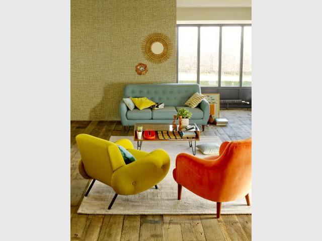 Un salon coloré très années 60 - Salon 60's