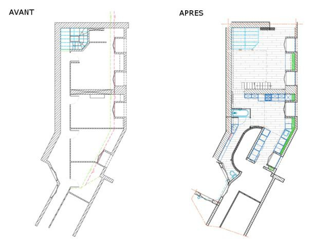 Réunir des chambres de bonne et aménager des combles - Rénovation d'un appartement sous pente Moutiez Haller