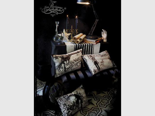 Des têtes de mort dans un cabinet de curiosités - Ambiance baroque et gothique