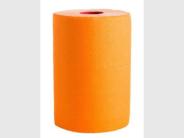 Un rouleau d'essuie-tout orange pour une cuisine total look - Autour de la couleur orange