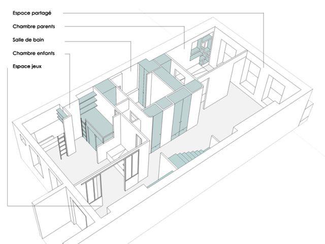 Un espace de 80 m2 dédié aux pièces de nuit - Ba-So Architectures