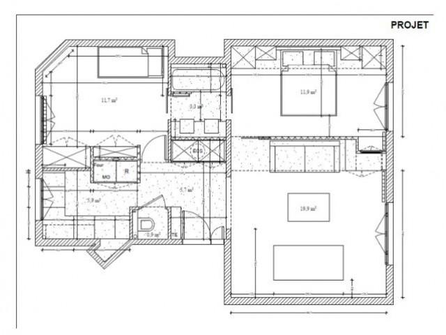Fiche technique - Une salle de bains dynamise un appartement mal agencé