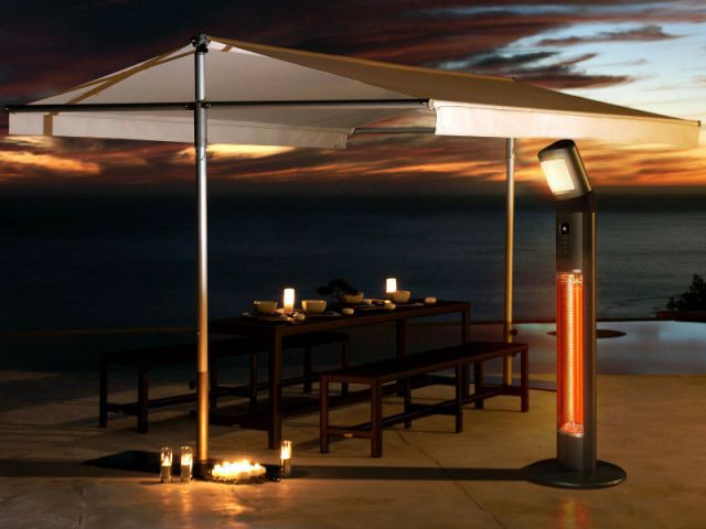 Une terrasse pour dîner par tous les temps grâce à un chauffage d'appoint  - Des salons d'extérieur bien au chaud