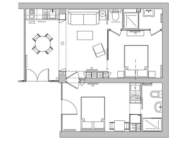 Après : Deux petits appartements pratiques et communicants - Deux-pièces et studio communicants