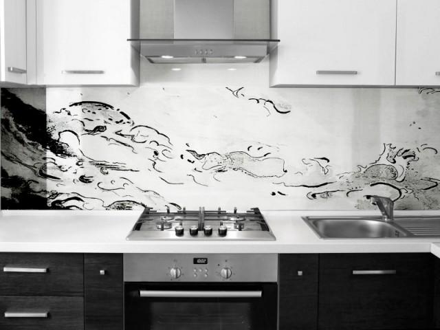 Une crédence de cuisine comme une vague illuminée - Art contemporain sur verre