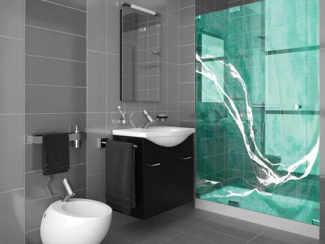 Vague coloré pour une paroi de douche en verre - Art contemporain sur verre
