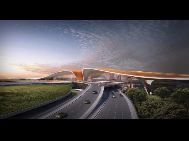 Ligne de toiture ondulante - Aéroport Pékin