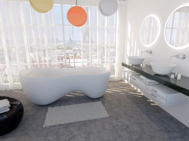 Une baignoire tout en rondeur dans une salle de bains pleine de bulles - Une baignoire au milieu de la salle de bains
