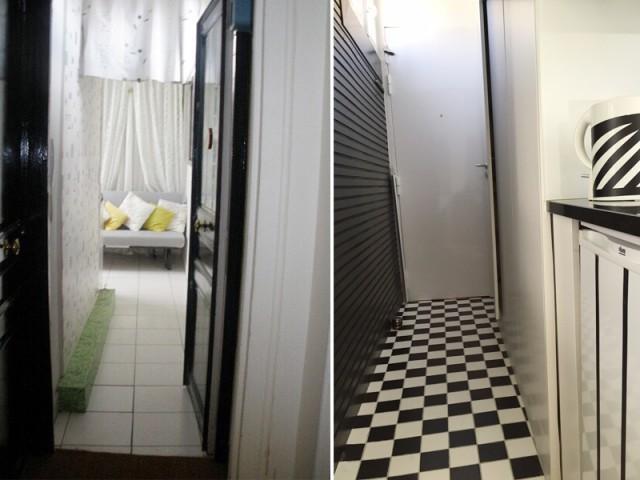 Une entrée dynamisée grâce à un damier noir et blanc au sol - Rénovation studio