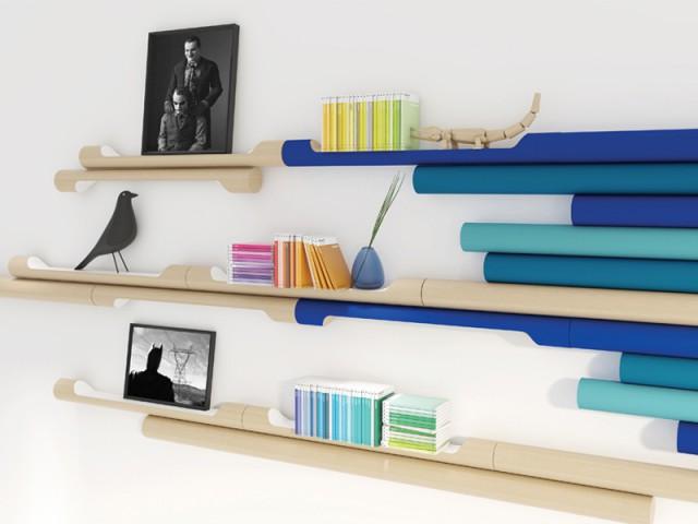Des étagères façon rondins de bois - Biennale de design Saint-Etienne 2015