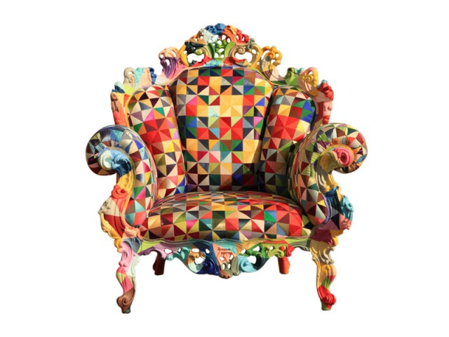 Un fauteuil de style façon arlequin - Biennale de design Saint-Etienne 2015