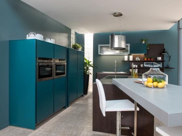 Des placards de cuisine qui se fondent dans le décor - Le bleu canard envahit la maison