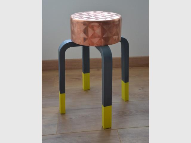 Après : Une table d'appoint color block  - Concours Copper upcycling