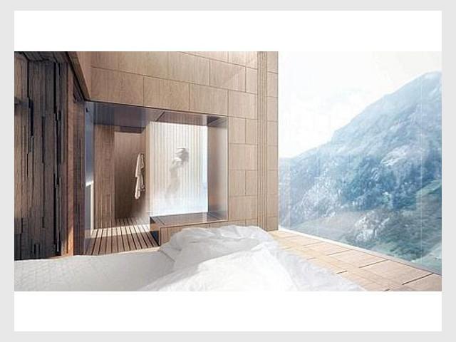 L'hôtel offrira une vue panoramique sur les Alpes suisses - Tour Thom Mayne - Vals/Stoffel